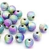 Sadingo Acrylperlen, Kunststoffperlen, Stardust Perlen, Sternstaubperlen - 50 Stück - 8 mm - Bunte Perlen zum basteln