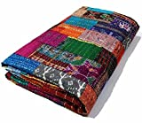 Manglam Arts Patchwork-Tagesdecke, Queen Size, Seide, 228,6 x 274,3 cm