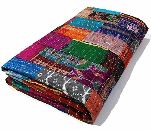 Manglam Arts Patchwork-Tagesdecke, Queen Size, Seide, 228,6x 274,3cm -