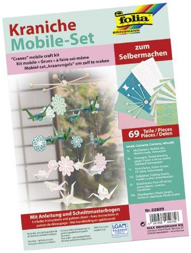 folia 22829 - Mobile Set Kraniche zum Selbermachen, mit 69 Teilen, Anleitung und Schnittmusterbogen - Komplettset zur Erstellung eines Mobiles Set Mobile