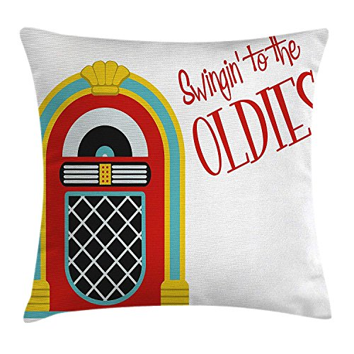 Cushion Cover, Jazz Age Vintage Party Theme Music Raido Box with Quote Art Print, Decorative Square Accent Pillow Case, 18 X 18 Inches, Red Sky Blue and Yellow ()