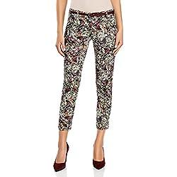 oodji Ultra Mujer Pantalones Estampados con Cinturón, Multicolor, ES 36 / XS