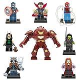 XH 8 Avengers – Infinity War Minifiguren. Beinhaltet: Hulk Buster, Captain America, Spiderman, Dr. Strange, Rocket Racoon, Mantis, Gamora und Scarlet Witch.