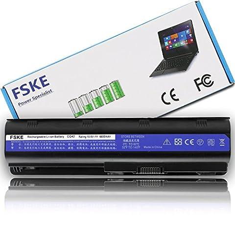 FSKE® Batterie pour ordinateur portable pour HP G32 G42 G62 G4 G6 G7 Cq32 Cq42 Cq43 Cq430 Cq56 Cq62 Cq72 Hp Dm4 Mu06 593553-001 593554 Mu09 Pavillon série Compaq Presario [10.8v 6600mah 9-cell] Haute performance Garantie de 3 ans