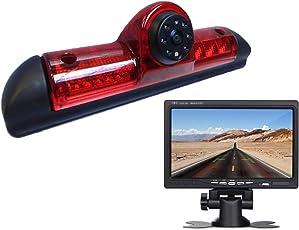 Dynavision Rückfahrkamera Transportster+7 Zoll TFT LCD Bildschirm Auto Monitor im 3.Bremslicht Bremsleuchte Passend für Ducato X250/ Peugeot Boxter/Citroen Jumper