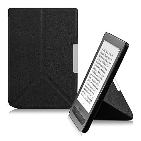 kwmobile Housse élégante en cuir synthétique pour Pocketbook Touch Lux 3 / Touch Lux 2 / Basic Lux / Basic 3 / Basic Touch 2 à fermeture aimantée pratique en noir
