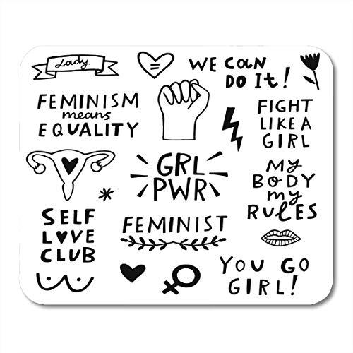 Alfombrillas de ratón Feminista Feminista Letras de la mano Cotizaciones Igualdad Cojín de ratón para computadoras portátiles, Computadoras de escritorio Alfombrillas de ratón, Suministros de oficina