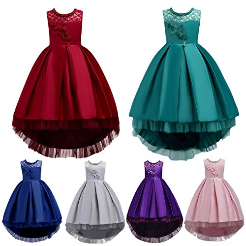 IWEMEK Kids Big Girls Princess Dress Floral Decor Sleeveless High Low Hem Tulle Dresses Bridesmaid Wedding Communion Birthday Party Prom Ball Gown 3-15 Years