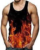 Diseño de Fuego Impreso 3D Hombre Sin Mangas Camisetas Cuello Redondo de Verano Casual Chaleco Fresco Negro Rojo L