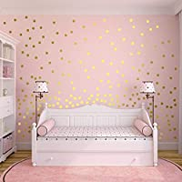 220PCS Gold Dots Wall Stickers for Kids Bedroom, WOWOSS Removable Dots Stickers Wall Decor for Baby Room, Nursery, Kindergarten and Bedroom Decoration