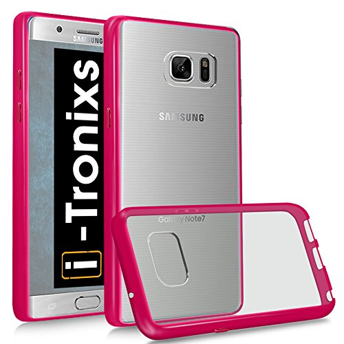 Preisvergleich Produktbild (Rosa) Mobile Abdeckung Schutzhülle für Samsung galxy Note FE 2017 / Samsung Galaxy Note Fan Edition TPU Hülle Transparent Schmal Thin Fit Tasche Hybrid Gel [Acrylic Air Cushion] Hülle SchutzHülle , SchŸtzende Kratzfeste Flexible HandyHülle Stoßstange Cover Schutzhülle für Samsung Galaxy Note FE TPU Stoßstange WITH Stilvoll COLOR FRAME LOOK Cover + Aluminum Earphones By i-Tronixs¨
