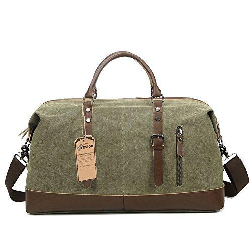 Duffel Bag Damen, Fresion Größere Vintage Segeltuch Reisetasche Canvas Handgepäck Leder Unisex Sporttasche für Reise am Wochenend Travel (Armeegrün)