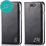 SURAZO® LG G5 – Personalisierte RFID SMART Magnet Ledertasche Handy Schutzhülle Case mit Ihren Golden Buchstaben/Intitialen Motiv – Schwarz