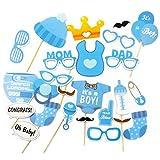 Oblique Unique® 25 Stück Babydusche Foto Props Baby Flasche Masken Fotorequisiten Neugeborene Junge Partydekoration