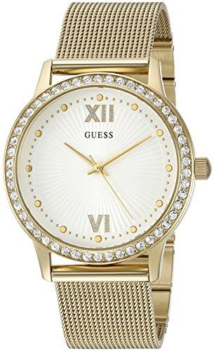 Guess U0766L2Dressy gold-tone orologio da donna con quadrante bianco, crystal-accented lunetta e mesh G-Link Band