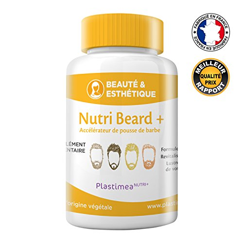 NUTRI BEARD+ !! 1ER ACCELERATEUR DE POUSSE DE BARBE FRANÇAIS !! FORMULE UNIQUE ET DOSAGE OPTIMAL POUR 100% EFFICACITE * Ingrédients 100% naturels * 90 gélules d'origine végétale