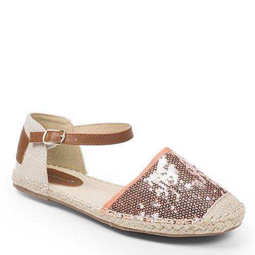 Ideal Shoes - Sandales à bride décorées de sequins Vaite Orange