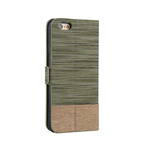 iPhone 5/5S Case se, w-pigcase de haute qualité étui en cuir PU avec fermeture magnétique et coque de protection portefeuille classique Deux Bandes couleur peau portable slim Coque pour iPhone 5/5S/5 green