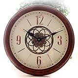 ZHUNSHI Semplice legno creativo moda retro orologio muto continentale pastorale antico salotto orologio tavolo pendolo orologio da parete,10 pollici,Bianco e nero