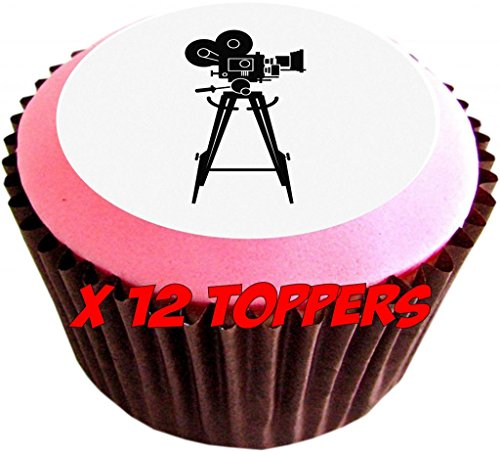 Appareil photo Trépied Lot de 12 décorations comestibles pour gâteaux de 38 mm 3,8 cm) #33 - Appareil Photo