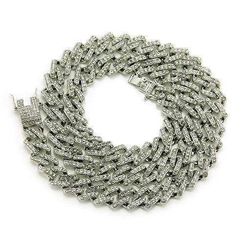 DUPFY 18 Karat Vergoldet Alle Simulierten Diamanten übertrieben Dominierende Miami Cuban Chain Halskette Gold, Silber Silver20inch