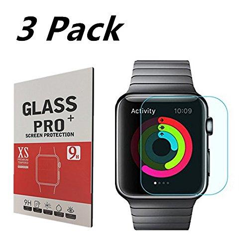 [3 Stück] Apple Watch 38mm Schirm-Schutz-Premium-gehärtetes Glas,OBYOBY ultradünne 0.20mm / Panzerglas 9H / blasenfreie Schutzfolie Tempered Glass Screen Protector pour Apple Watch 38mm