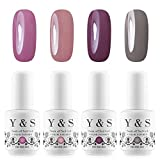 Y&S 8ml UV LED Gel Nail Polish Sets Longwear Soak Off Glitter Nail Gel Polish Kit Washable Manicure Varnish #003 (Pack of 4)