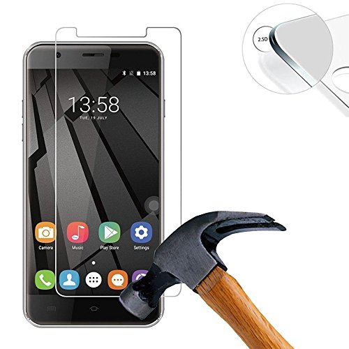 Lusee® 2 X Pack Panzerglasfolie Tempered Glass Hartglas Schutzfolie für Oukitel U7 max 5.5 Zoll Screen Folie Protector Ultra Hart Displayschutz 0,3mm 9H Clear 2.5D