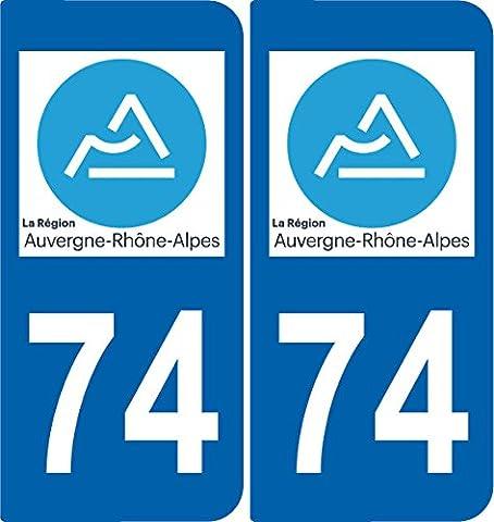 Paire Sticker immatriculation 74 - Nouveau logo Auvergne Rhône-Alpes