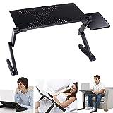 puqu 360° tragbar, verstellbar, zusammenklappbar Laptop Notebook Tisch Schreibtisch Ständer mit Lüfter Falten Knietablett Halterung, mit Maus-Board, Aluminium Material Legierung für Bett Couch Sofa