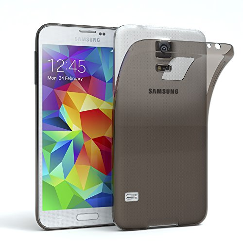 EAZY CASE Hülle für Samsung Galaxy S5 / S5 LTE+ / S5 Duos / S5 Neo Schutzhülle Silikon, Ultra dünn, Slimcover, Handyhülle, Silikonhülle, Backcover, Durchsichtig, Klar Anthrazit