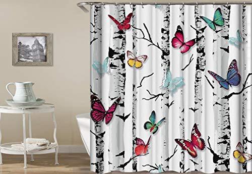 High-density Schwarz Tinte (dsgrdhrty Schöner Farbiger Schmetterling auf einem schwarzen Hintergrund mit schwarzer Tinte gemalten Niederlassungen Wasserdichter Badezimmervorhang antibakteriell tragbar und waschbar)