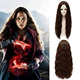 Cosplay de Scarlet Witch Peluca Larga Marrón Wig Disfraz de Película Regalo de Navidad Halloween