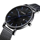 SUNWH Herren Uhren Slim Minimalist Schwarz Armbanduhr Edelstahl Wasserdicht Analog Quarzuhren Datum mit schwarzem Mesh-Band S-3SD6