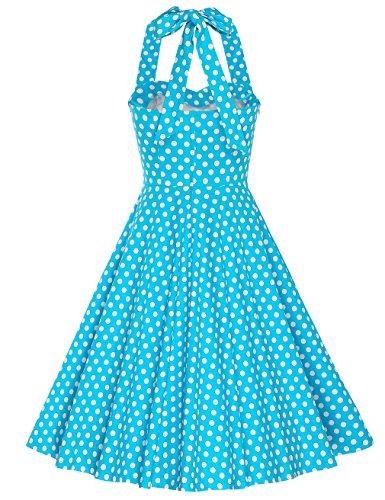 MUXXN Jupe de swing femme relax avec les petits imprimes bretelle et de style classique Turquoise Big Dot