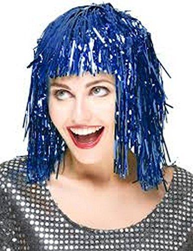 PICCOLI MONELLI Fasching Perücke, Metall, Metallic-Fäden, für Erwachsene Taglia unica blau