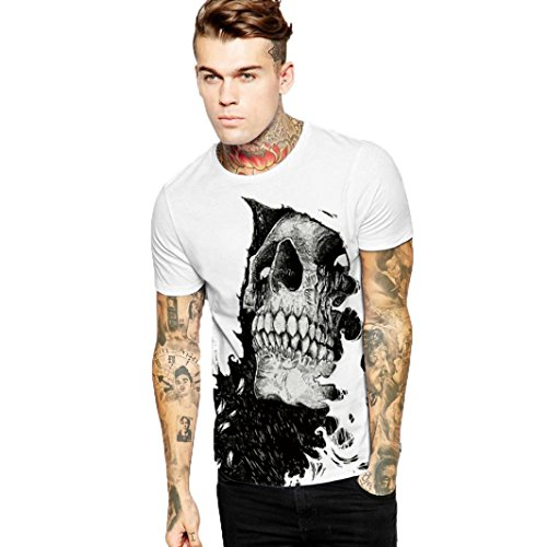 T Shirt Herren, HUIHUI Coole V-Ausschnitt Kurzarm Sweatshirt Slim Fit Basic uv Polo-Shirt Mode Sport Oberteile Oversize Bench Tops Mode Drucken Sommer Freizeit Hemd Poloshirt (L, Weiß)