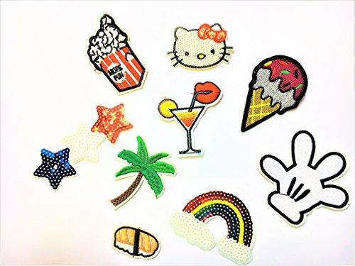 Beyond Patch Sticker 9 Stück Aufnäher Kleidung Patch Kitty, Regenbogen, Handschuh, Eis und Mehr