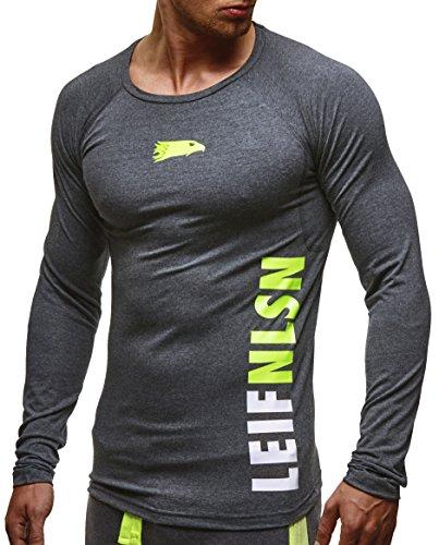 LEIF NELSON GYM Herren Fitness Sweatshirt T-Shirt Langarm Trainingsshirt Training LN6331; Größe M, Anthrazit-Gelb