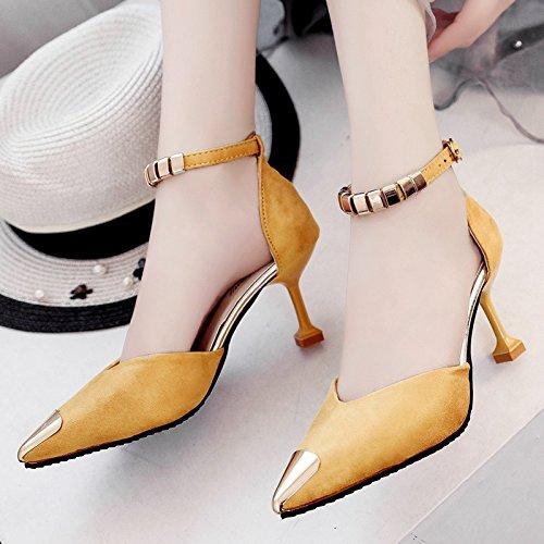 Lgk & Sandales D'été À Baotou Été Bien Avec Des Sandales De Chaussures De Mode Tout Jaune Match