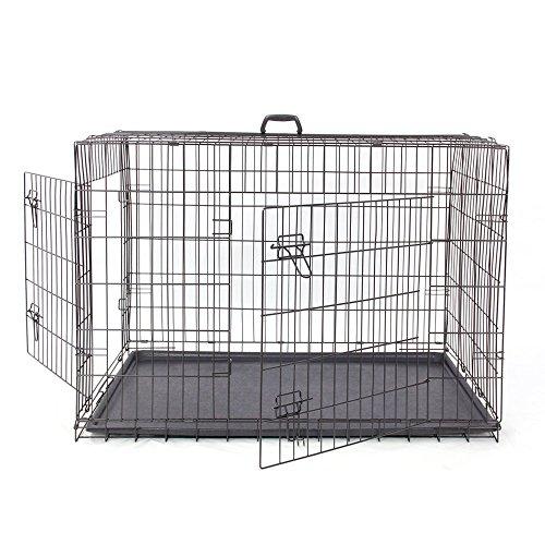 große Hundekiste klappbare double-door in 2 Seiten faltbare Haustier Käfig mit ABS-Fach einfach zu installieren mit 4 Größen,Haustier Waterloo (Size : S) (Pet-kiste Tray)