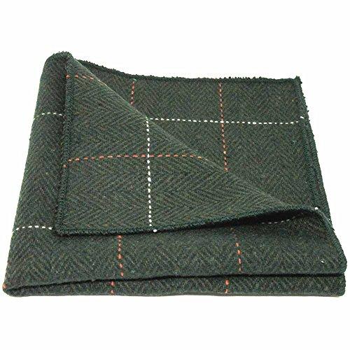Pañuelo de Bolsillo de Lujo de Tela Tweed en Espiguilla Verde del Bosque