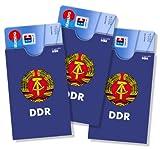 cardbox /// Motiv: DDR blau /// 3er SET /// Kartenhüllen für Karten und Ausweise im Scheckkartenformat