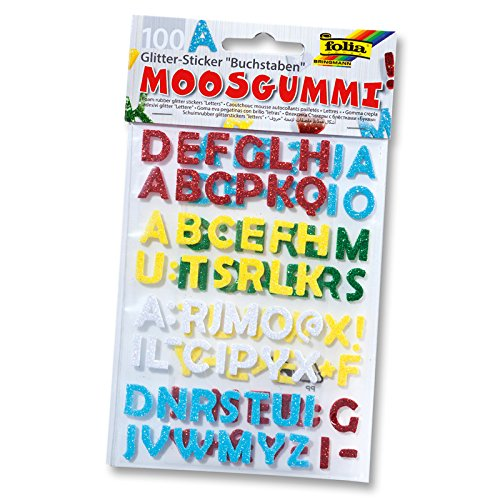 folia 23796 Moosgummi Glitter-Sticker, Buchstaben -