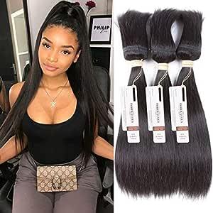 FASHION QUEEN Hair Braid in Bundles Unprocessed Brazilian Virgin Hair Straight Hair 3 Bundles 120g/Pc No Glue No Thread Braid in Virgin Human Hair Extensions (12 12 12 inch)
