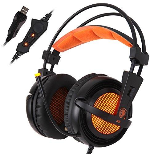 SADES A6 7.1 de sonido envolvente estéreo Pro PC Gaming Headset la venda de los auriculares con micrófono de alta sensibilidad del enchufe USB Over-the-Ear luces LED respiración Control de volumen (Negro)