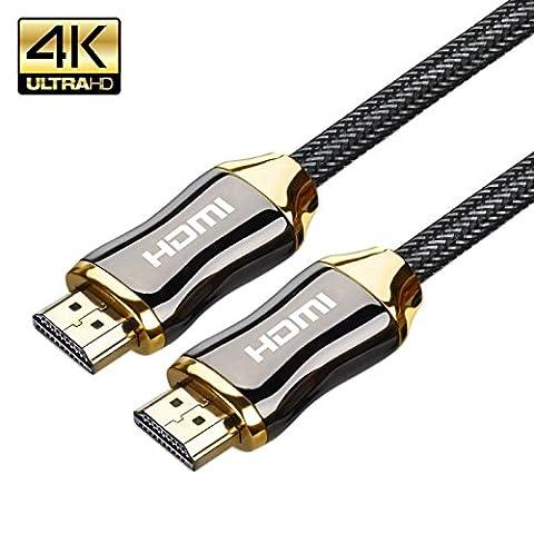 Câble HDMI 4K, Junefish Ethernet 3d Retour Audio 2.0Câble tressé et câble HDMI Connecteurs plaqués or 3m (3m)