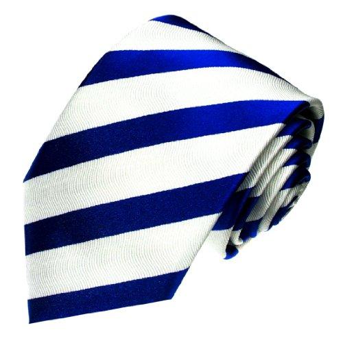 Lorenzo Cana - Weiss Blaue Marken Krawatte aus 100{154740d6736207323ea48a93f49b8e64b320bcb78629f9301fbb8c557bee8c4d} Seide mit Streifen - Accessoires in Italienischer Tradition - 84183