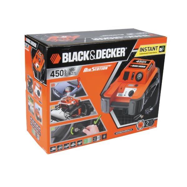 Black & Decker BDJS450I 450A Arrancador portátil de baterías con Compressor de 120 PSI, Color Naranja/Negro