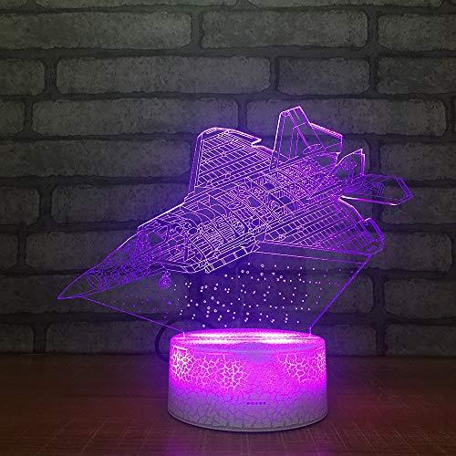 Aviones de acrílico LED 3D Luz de la Noche Juguetes Lámpara Avión de Aire Modelo Usb Mesa Escritorio Luz DC5V Para Niños Regalo de Navidad ## 6